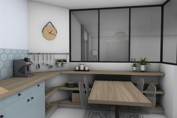 verrière style atelier table cuisine petit espace 1 | CUISINE ...