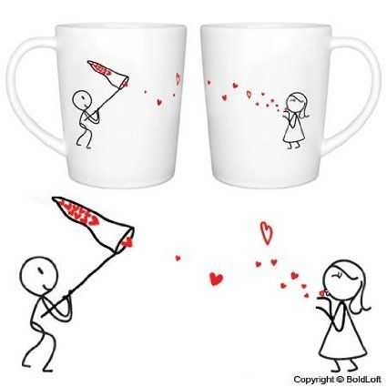 "Amazon.com: BoldLoft ""Catch My Love"" His and Hers Coffee Mugs-Valentines Day Gifts for Him for Her,Valentines Day Gifts for Girlfriend Boyfr..."