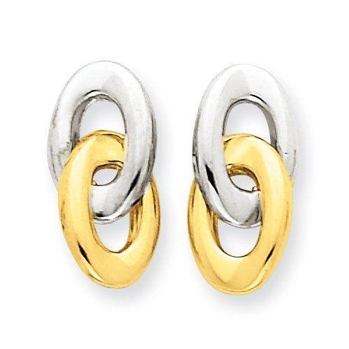 14k Gold Polished & Rho Fancy Post Ear Real Goldia Designer Perfect Jewelry Gift goldia. $123.40