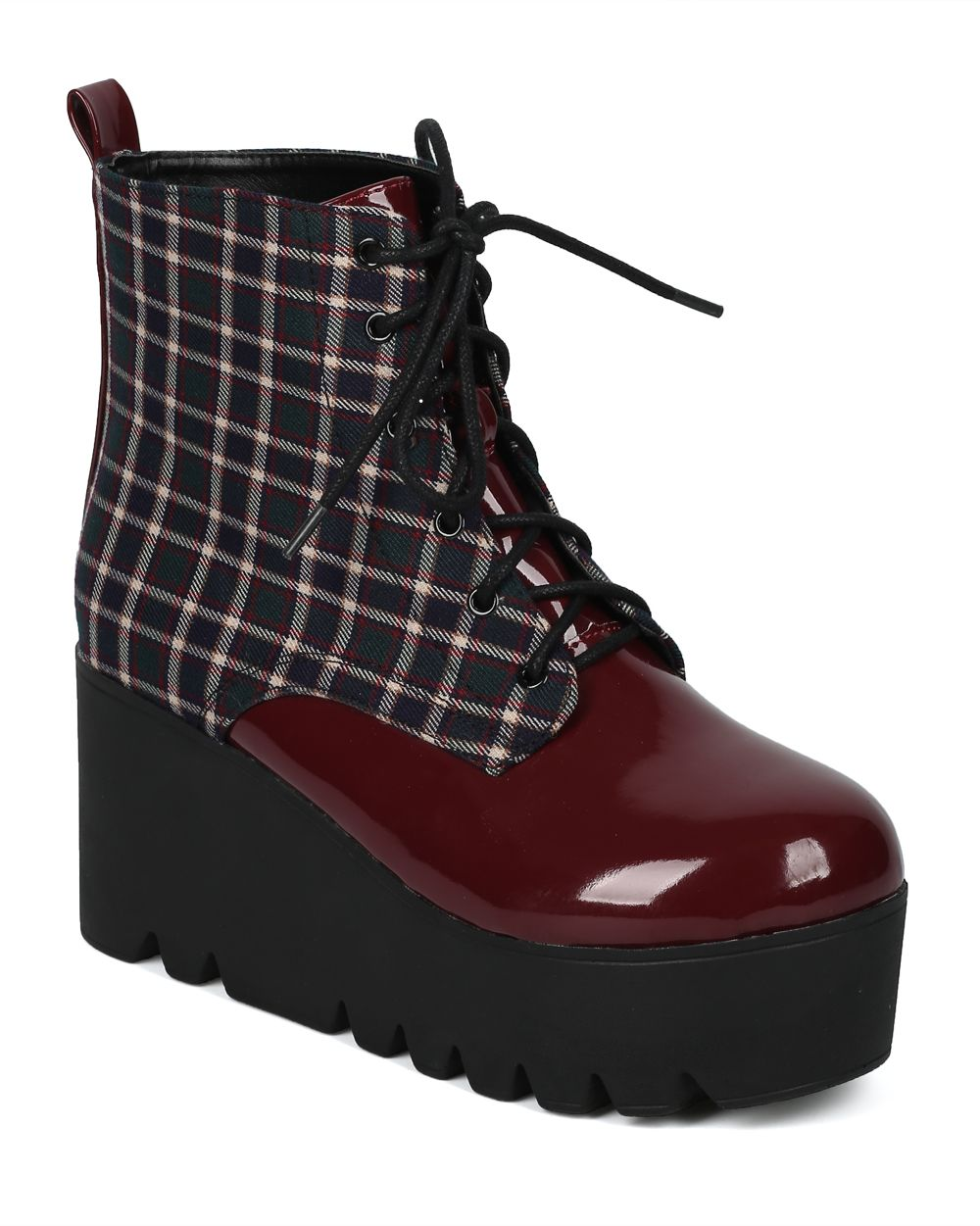 Women Mixed Media Plaid Lug Sole Platform Wedge Bootie - HF65 by Qupid Collection