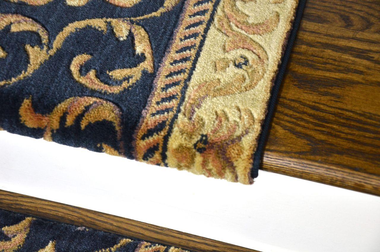 Best Navy Blue Scrollworks Bullnose Carpet Stair Treads 400 x 300