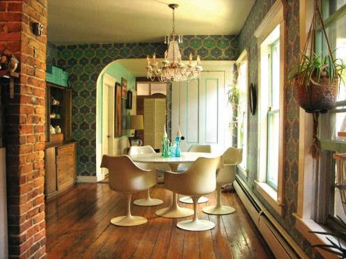 Blue Green Wallpaper In Retro Dining Room / Kitchen, Tulip Table And Chairs  #vintage
