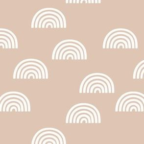 Colorful fabrics digitally printed by Spoonflower - Scattered Rainbows white on peach neutral blush pink