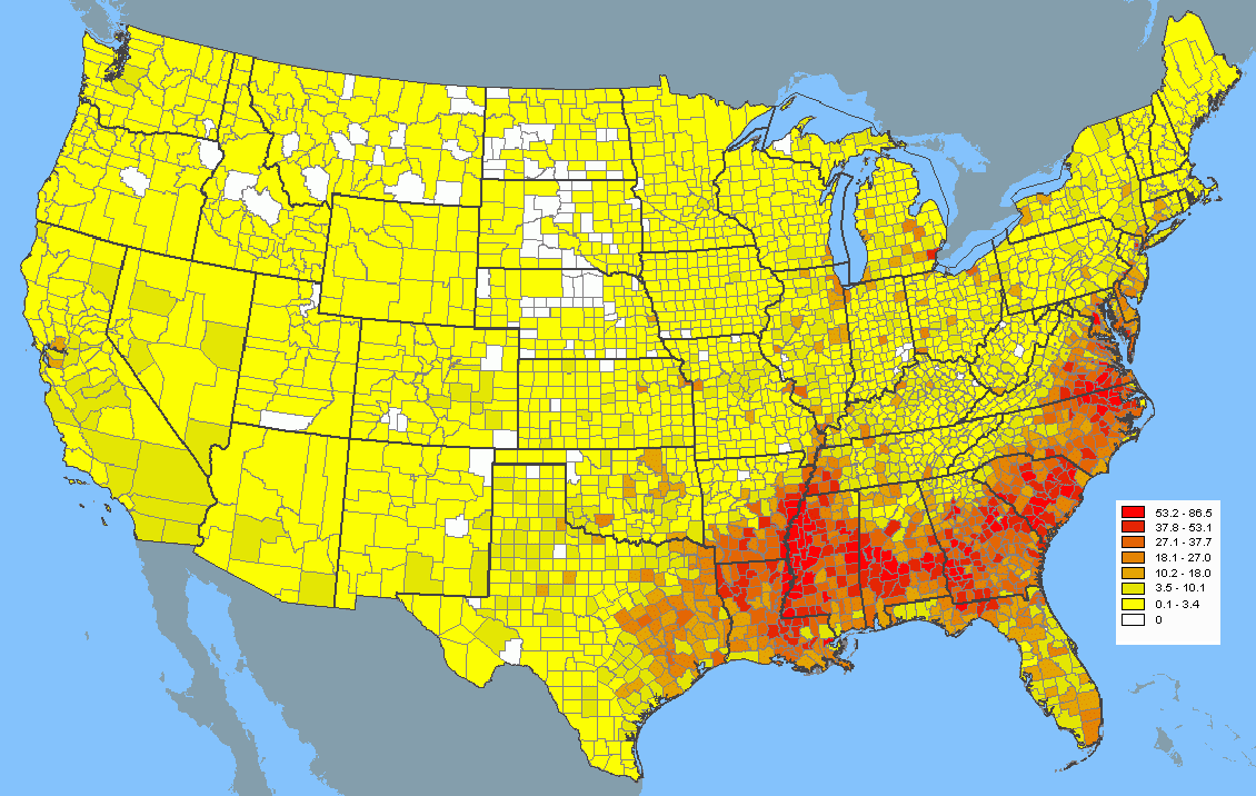 Map Of African American Population Density Maps Pinterest - Map of the us population density