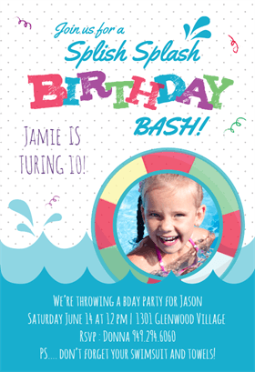 Splish Splash Printable Invitation Template Customize Add Text