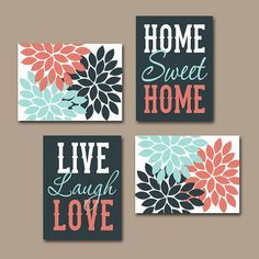 WALL ART CANVAS or Prints Live Laugh Love Home Sweet by