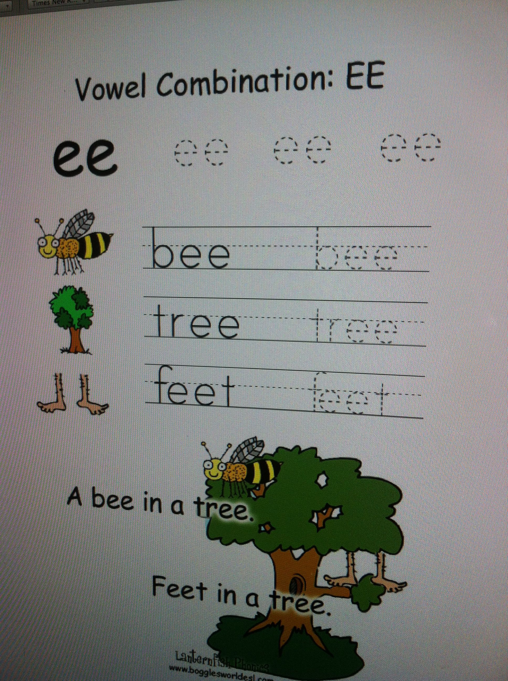 Free Vowel Combinations Vowel Digraphs Phonics Ee Bee