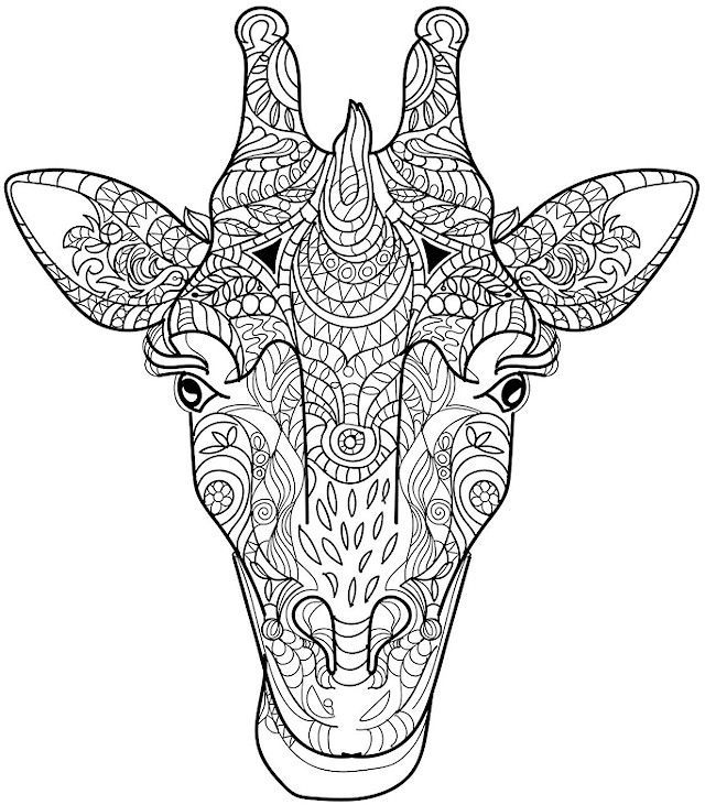 Animal coloring pages for adults giraffe head | Free prints ...