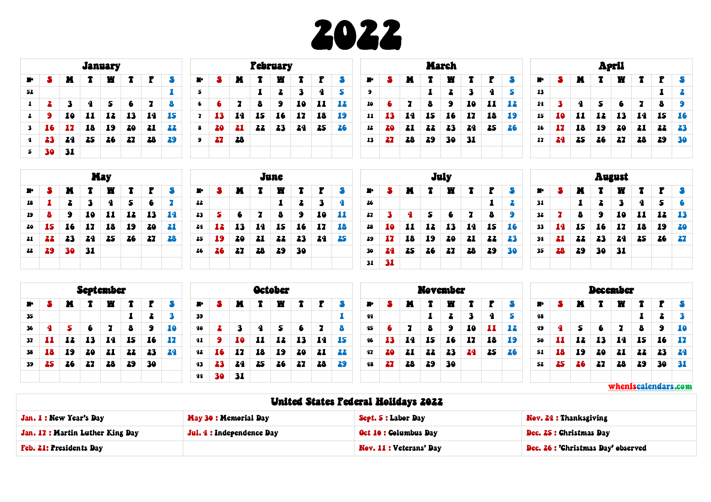 2022 Calendar With Holidays Printable 6 Templates In 2020 Free Calendar Template Templates Printable Free Yearly Calendar Template