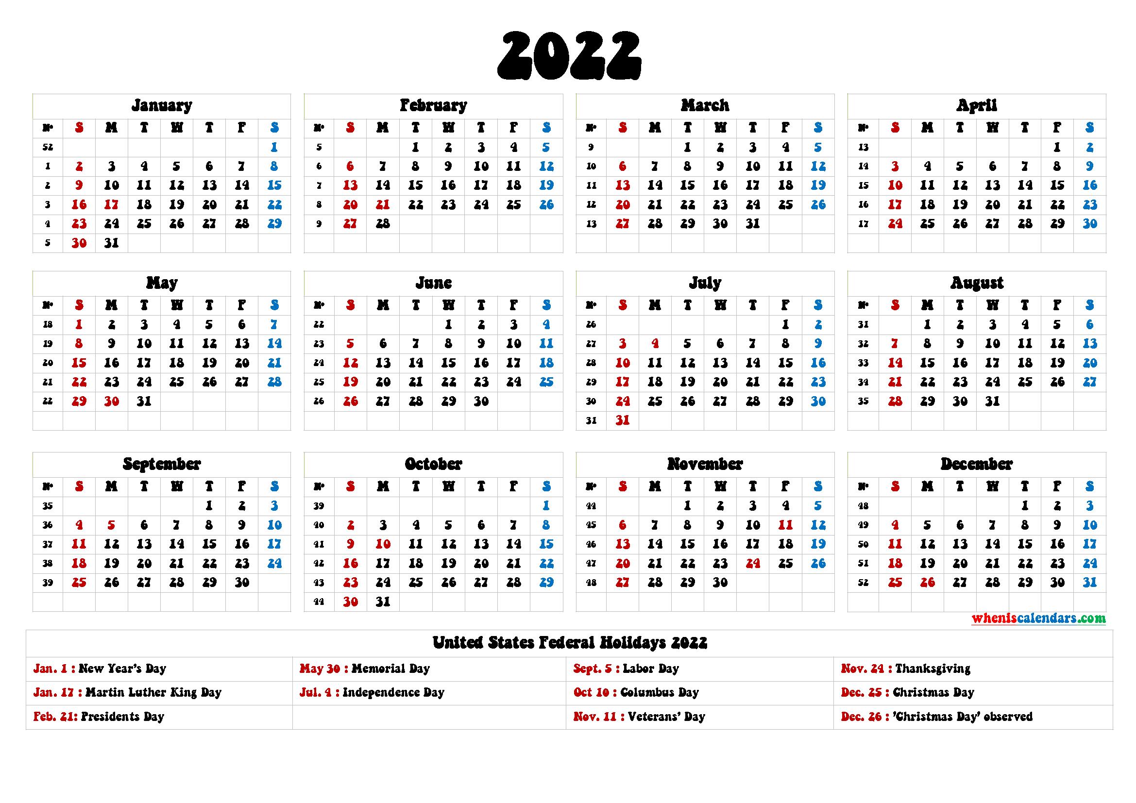 20+ Federal Holidays 2022 - Free Download Printable ...