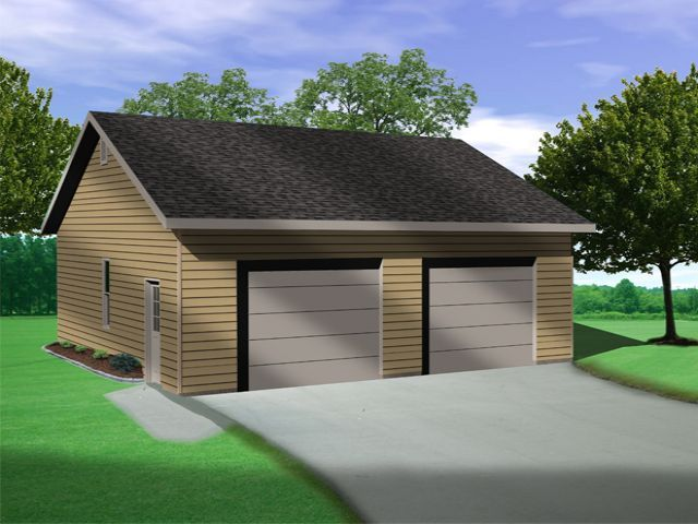 Vaulted ceiling in this two car garage plan allows for for 2 bay garage