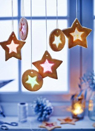 Mary Berry -The delicate stained glass window biscuits double as pretty  decorations - EXCLUSIVE Mary Berry Christmas Recipes Christmas Pinterest
