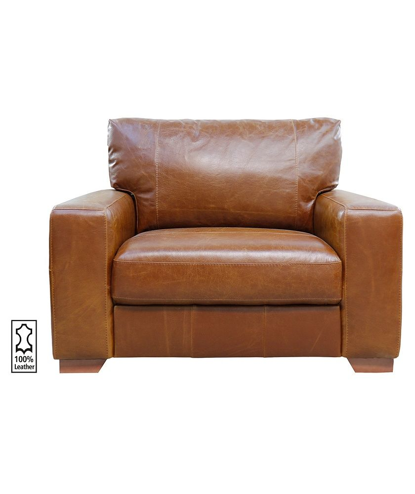 Buy Heart of House Eton Leather Cuddle Chair - Tan at Argos.co.uk