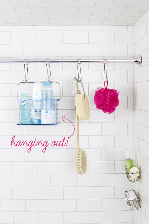 Use a few S-hooks to hang your loofa and shampoo caddy from a bonus shower rod.
