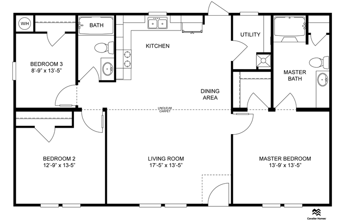 Floor Plan For The Express Series Model M195 Clayton Homes Home Floor Plan Manufactured Homes Modular Homes House Floor Plans Floor Plans Modular Homes