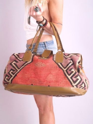 c6a57c67e91 Vtg 70s SOUTHWEST NAVAJO Kilim Leather Weekender BAG