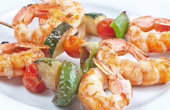 Facil Y Delicioso Brochetas De Langostinos Con Verduras La