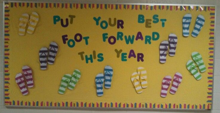 cab0f6448 Back to school bulletin board using flip flops and border from dollar store!