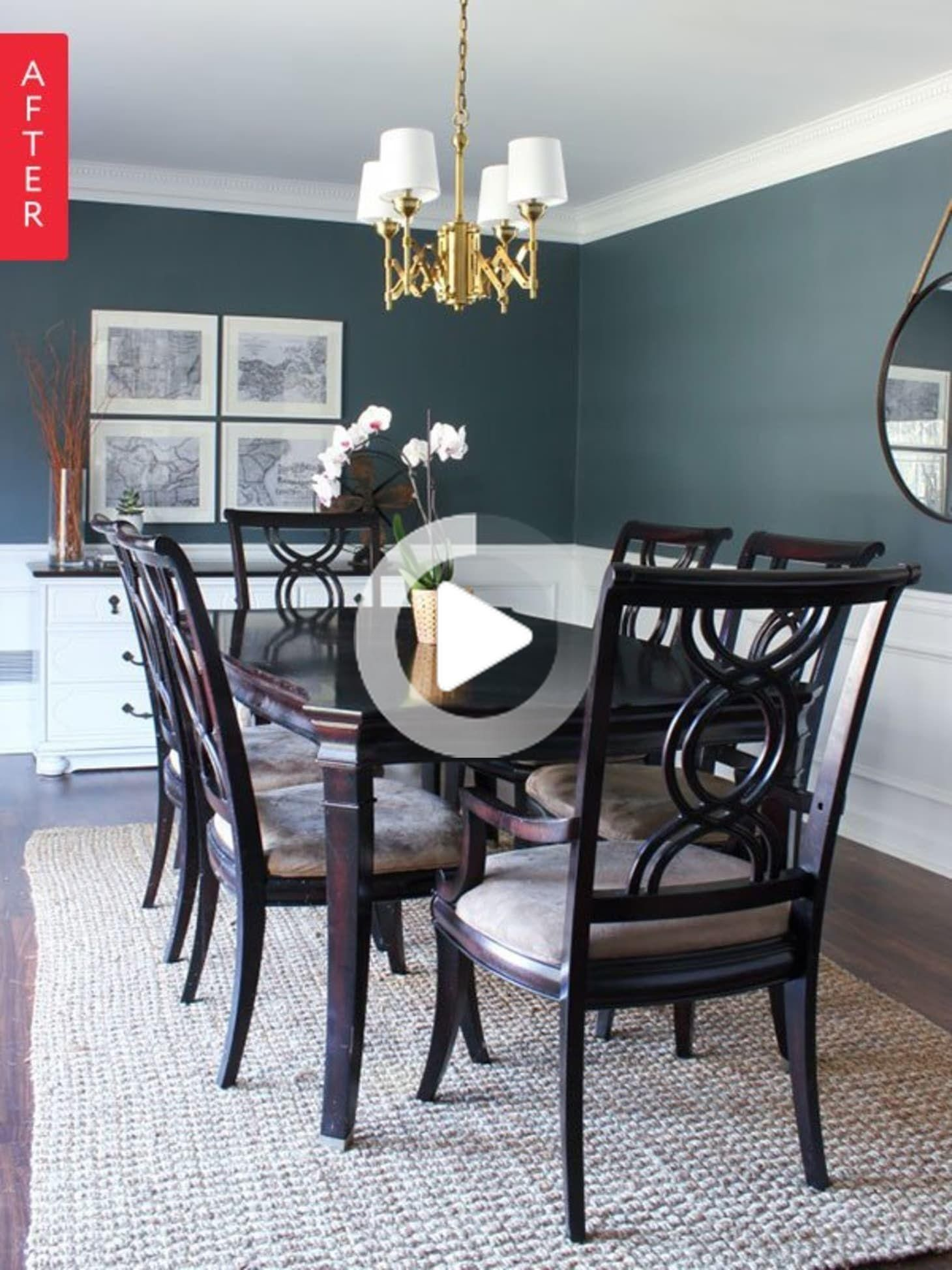 Before After Dining Room Goes Really Deep Dining Room Makeover Green Dining Room Dining Room Paint Before after dining room