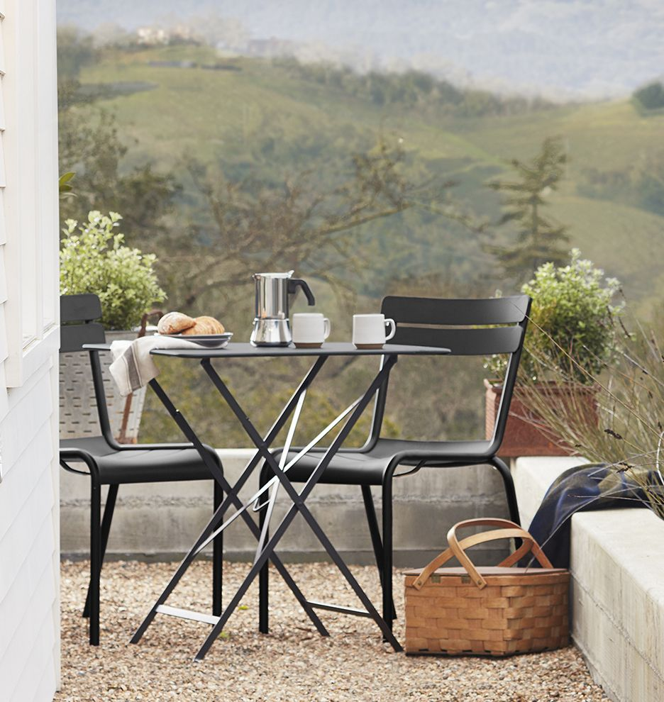 Fermob Luxembourg Chair   Licorice | Outdoor Patio Seating | Rejuvenation  The Background Painting Is A