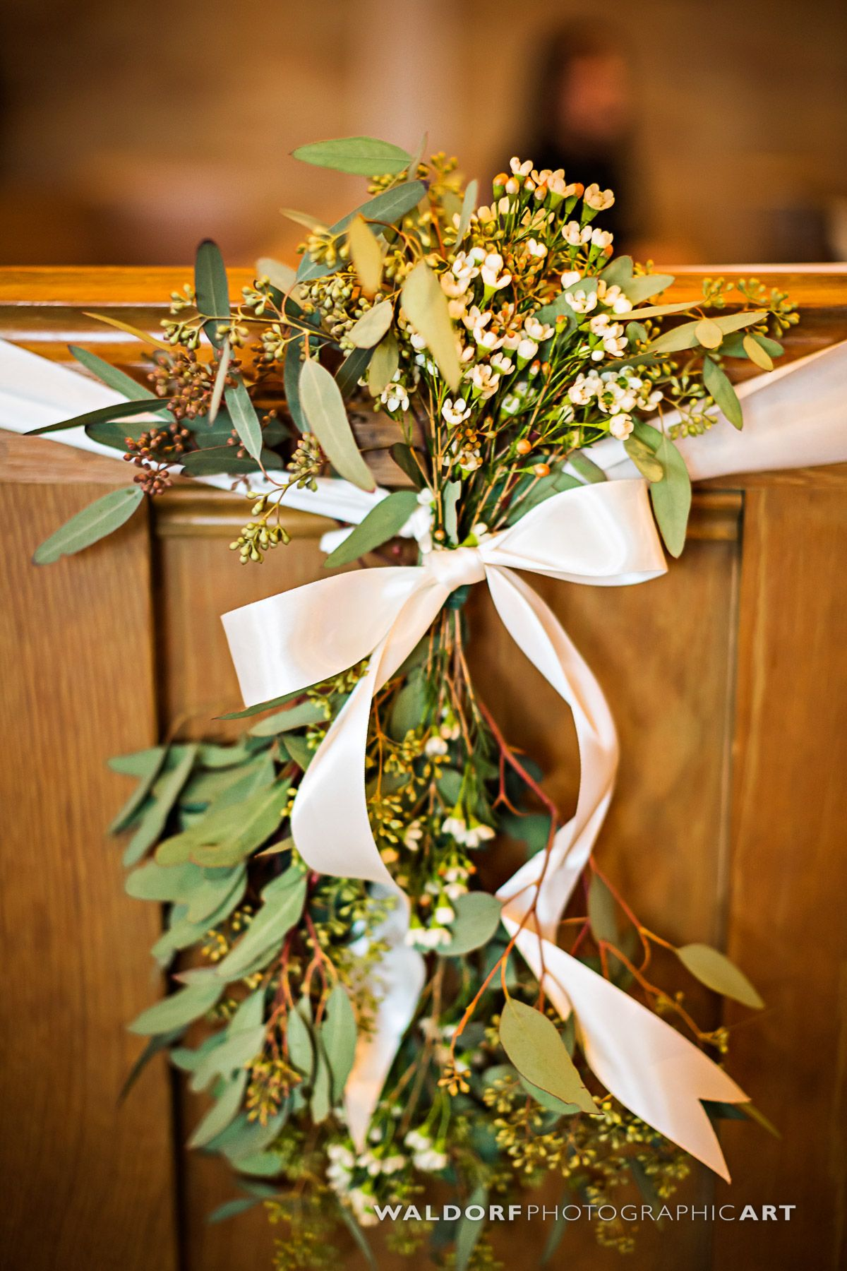 Simple And Elegant Greenery Pew Markers Seeded Eucalyptus And