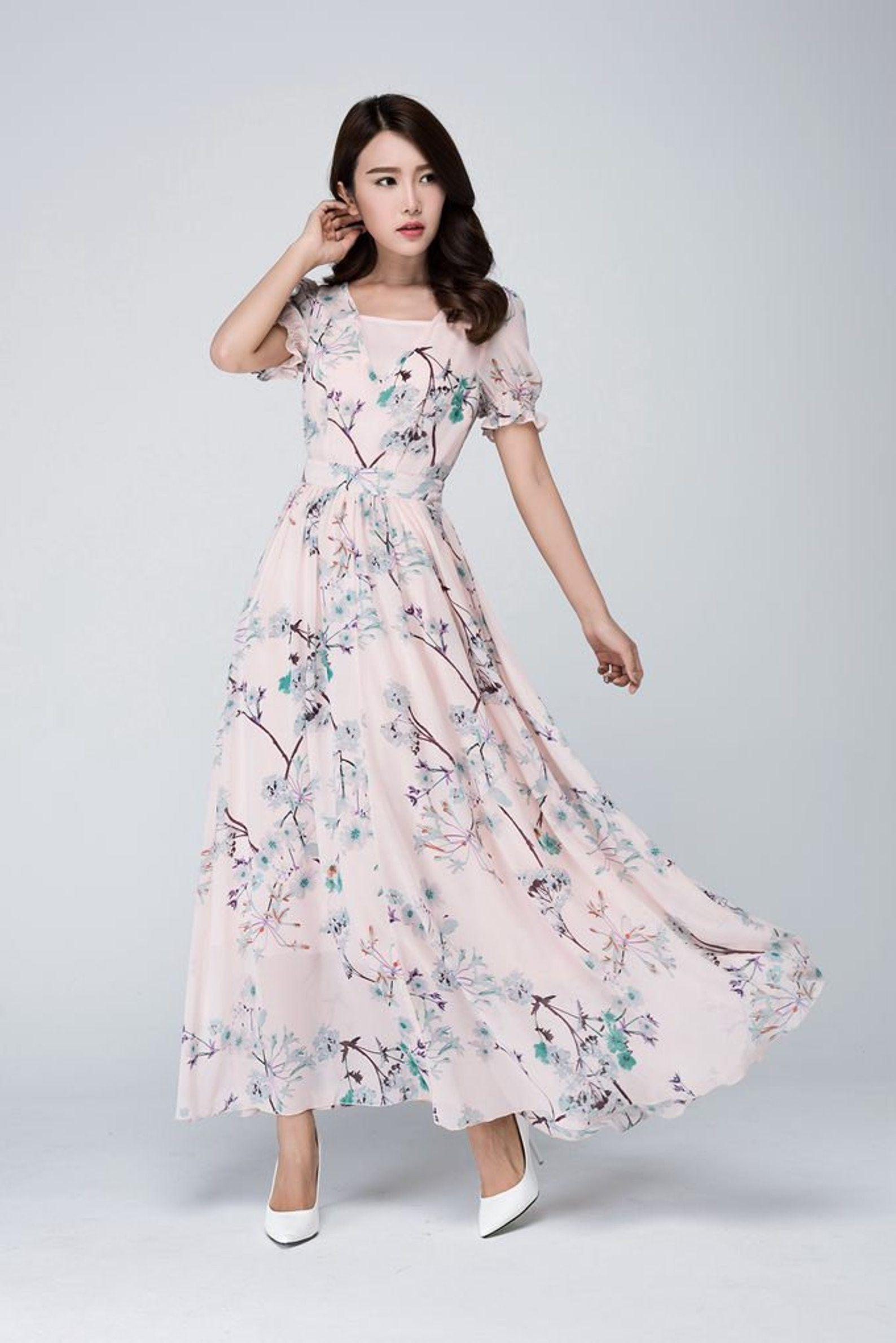 Chiffon Kleid Blumenkleid Maxi-Kleid Frauen Kleider  Etsy  Boho