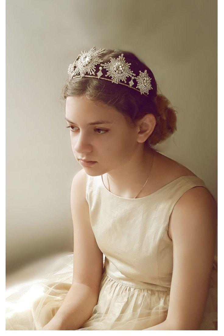 Hochzeit Sterne Krone Kristall Braut Kopfschmuck Golden