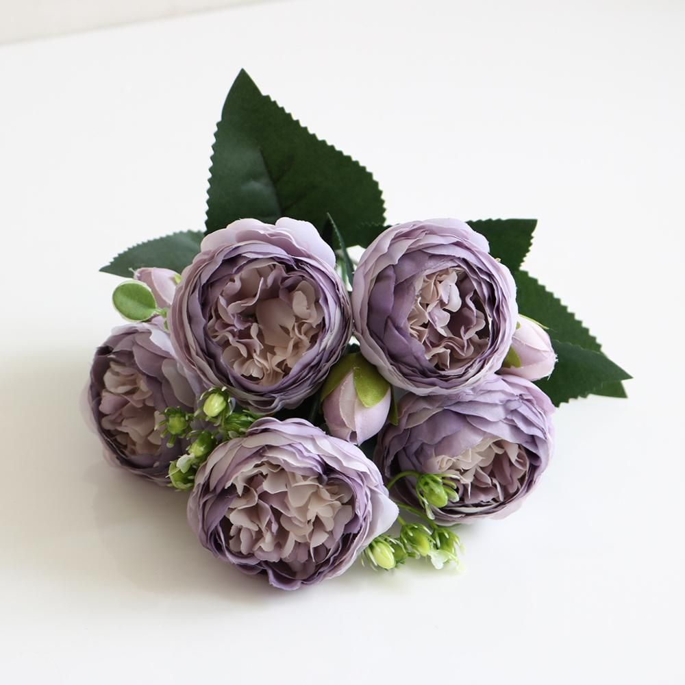 Photo of 5 Big Heads/Bouquet Peony Artificial Flowers Home Decoration Accessories Wedding Party Silk Peonies Diy Craft Roses Flowers – Light purple