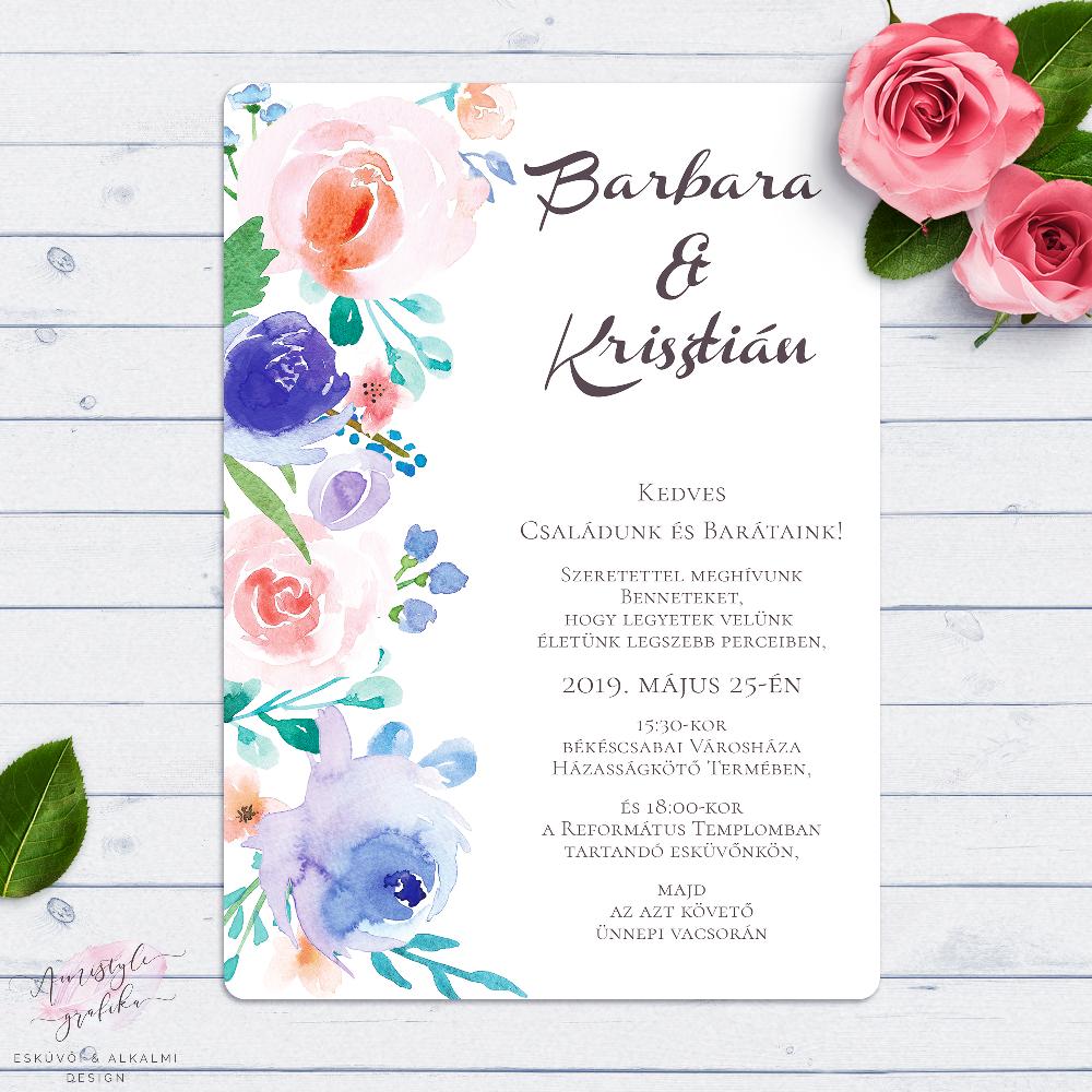 7974cddc82 Kék és Korall Virágos Esküvői Meghívó - Esküvői Meghívó, Alkalmi és Családi  Grafika Webáruház
