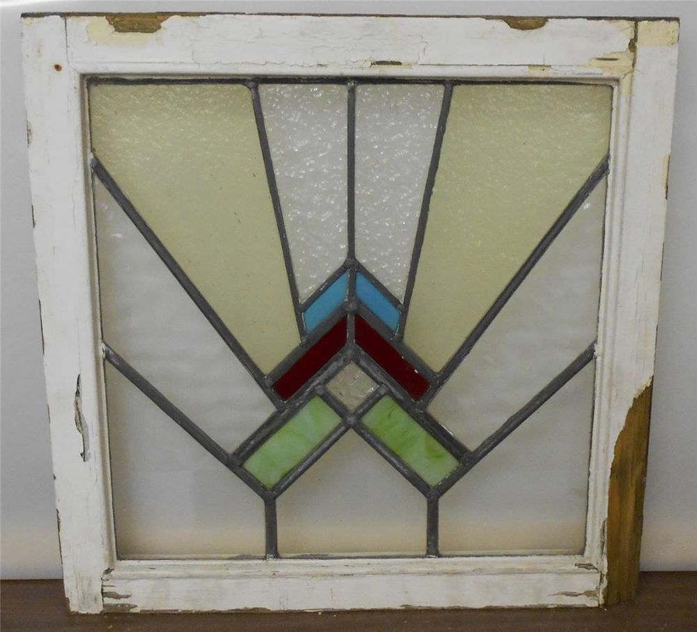 "OLD ENGLISH LEADED STAINED GLASS WINDOW Fascinating Abstract design 20"" x 19.75"""