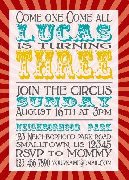 Circus Invite Wording Olivia S Party Circus Party Invitations
