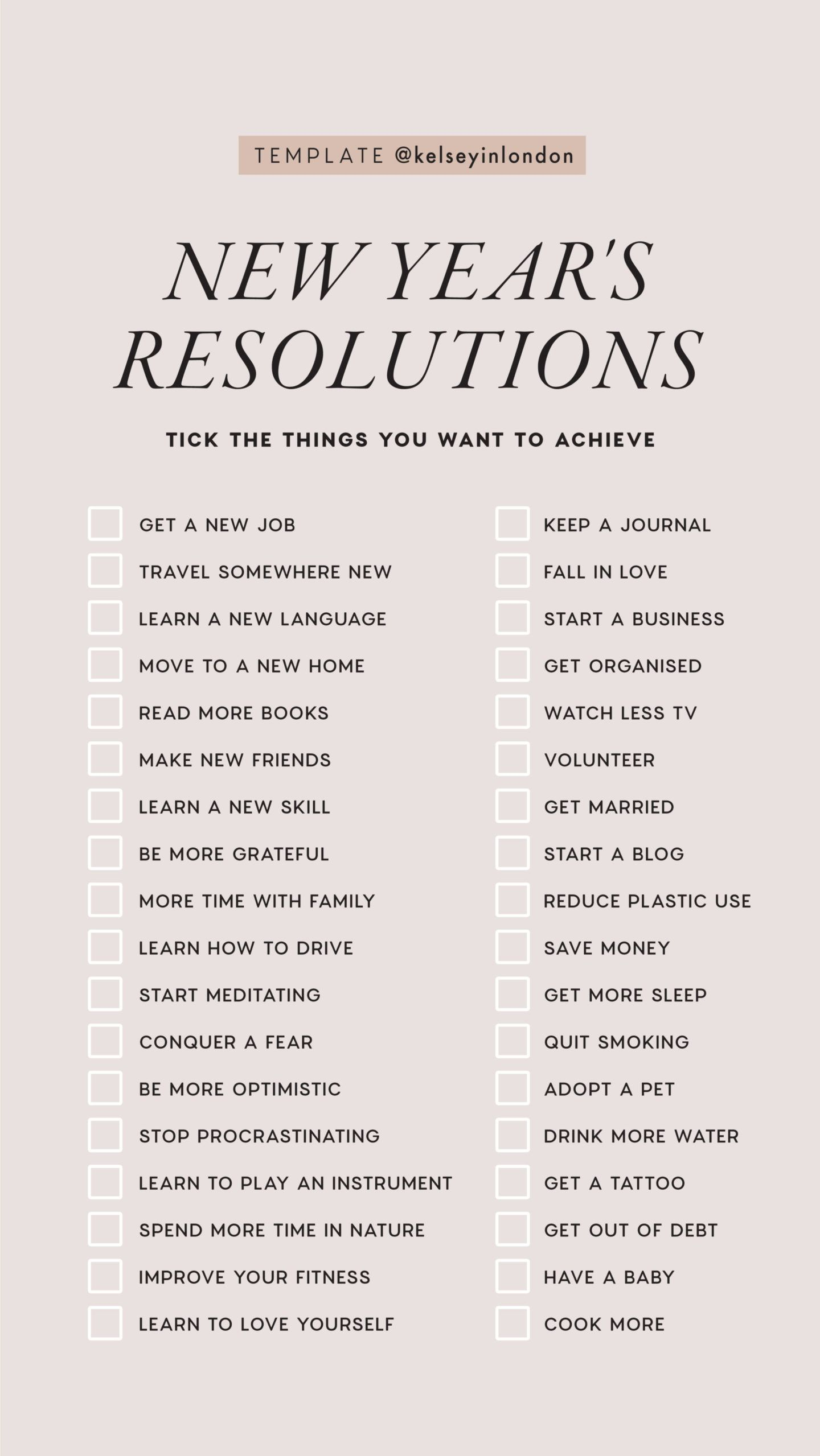 New Year Resolutions – Instagram Story Templates - Kelsey in London