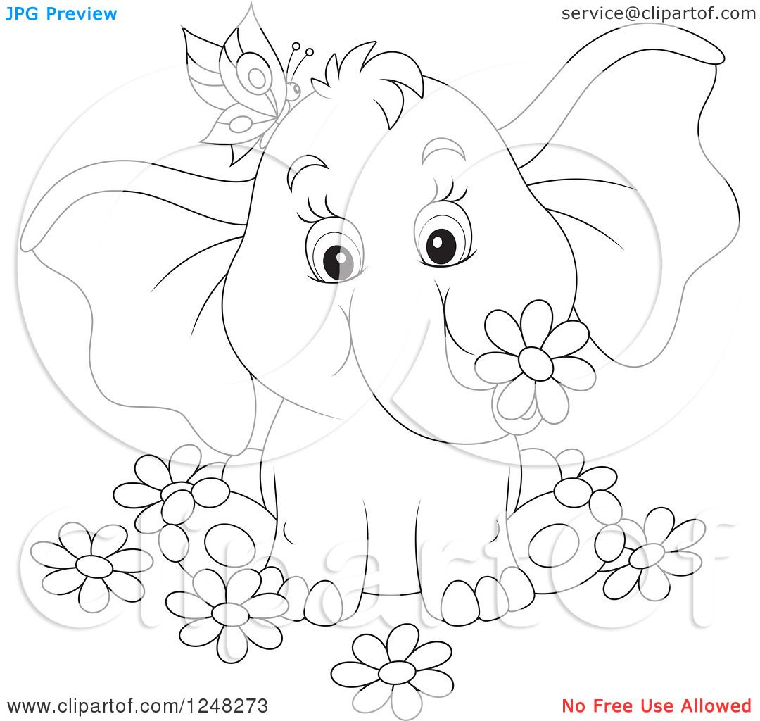 Clipart Of A Black And White Cute Elephant With A Butterfly And
