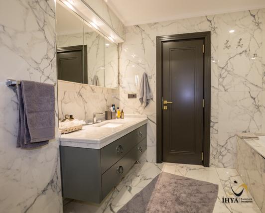 Modern Banyo Dolap Cekmece Kulp Ayna Zemin Calisma Kapi