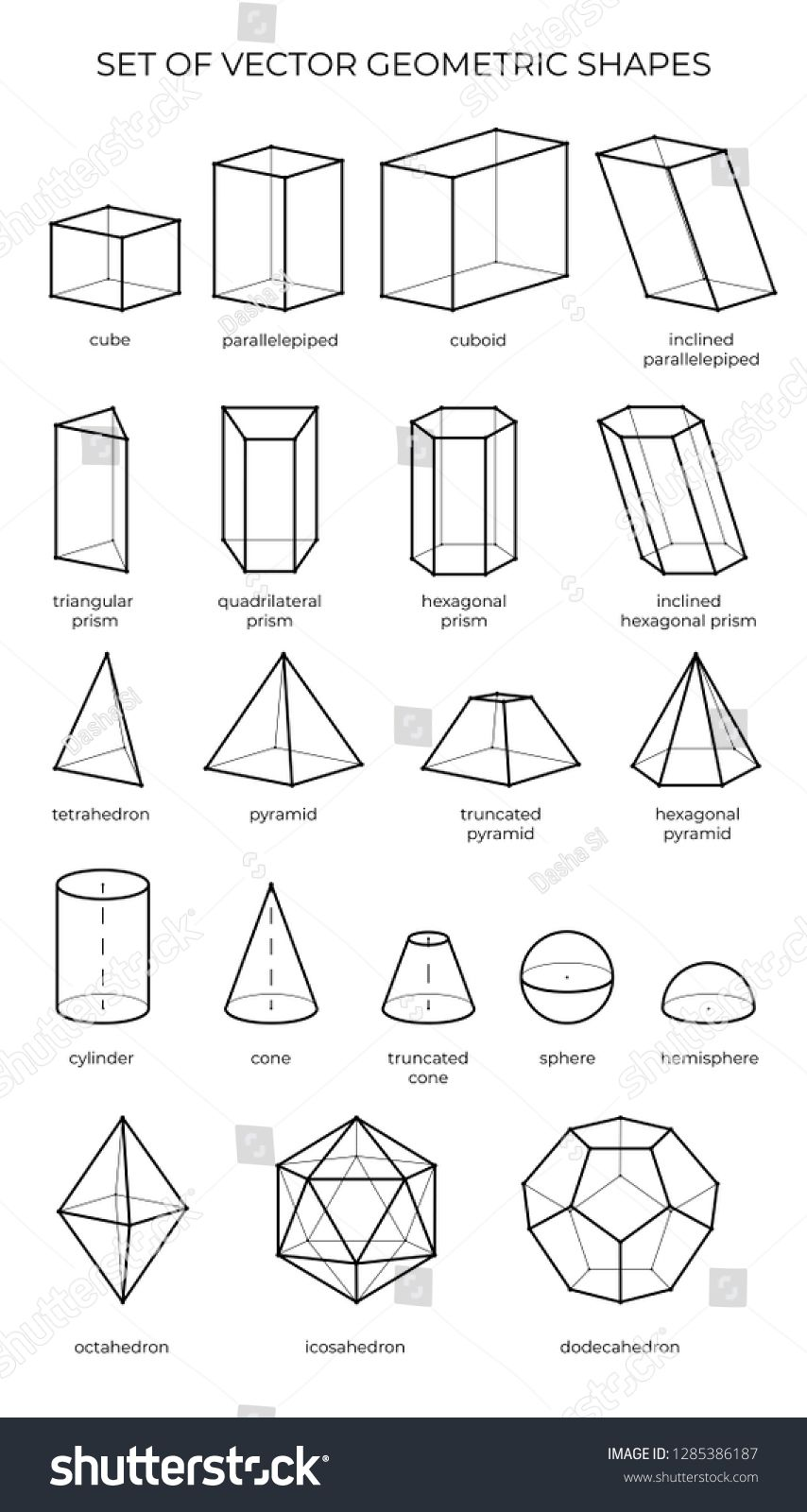 Huge Set Of 3d Geometric Shapes Vector Outline Objects Isolated On A White Background Th Geometric Shapes Design Geometric Shapes Drawing 3d Geometric Shapes