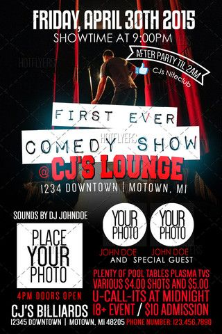 First Comedy Show PSD Flyer Template \u2013 HotFlyers NET PSD Flyer