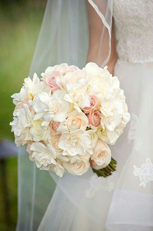Beautiful Rich Creamy Bouquet Of White Gardenias Ivory Cream Roses Perfectly Pink Blush Roses Wedding Bouquets Wedding Flowers Bridal Flowers