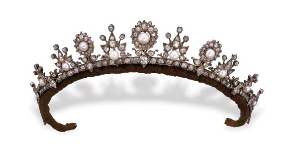 Antique Tiara, United Kingdom (ca. 1870; pearls, diamonds, silver, gold).