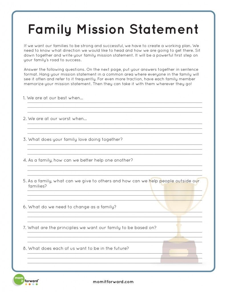 worksheet Personal Mission Statement Worksheet strengthening family creating a mission statement momitforward com