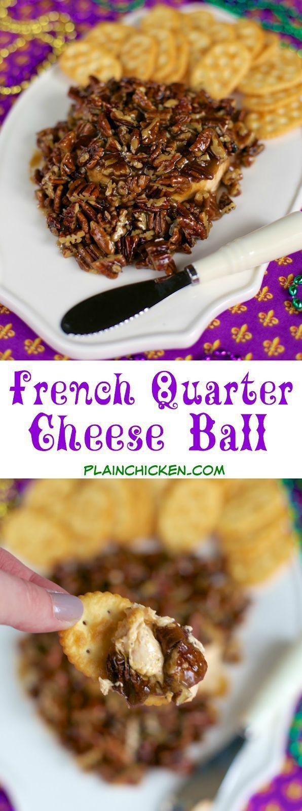 French Quarter Cheese Ball - sweet and savory in every bite! Quick cajun cheese ball topped with an easy praline topping. This is THE BEST! I took it to a party and it was gone in a flash! Everyone asks for the recipe! Perfect for Mardi Gras! #cajuncooking