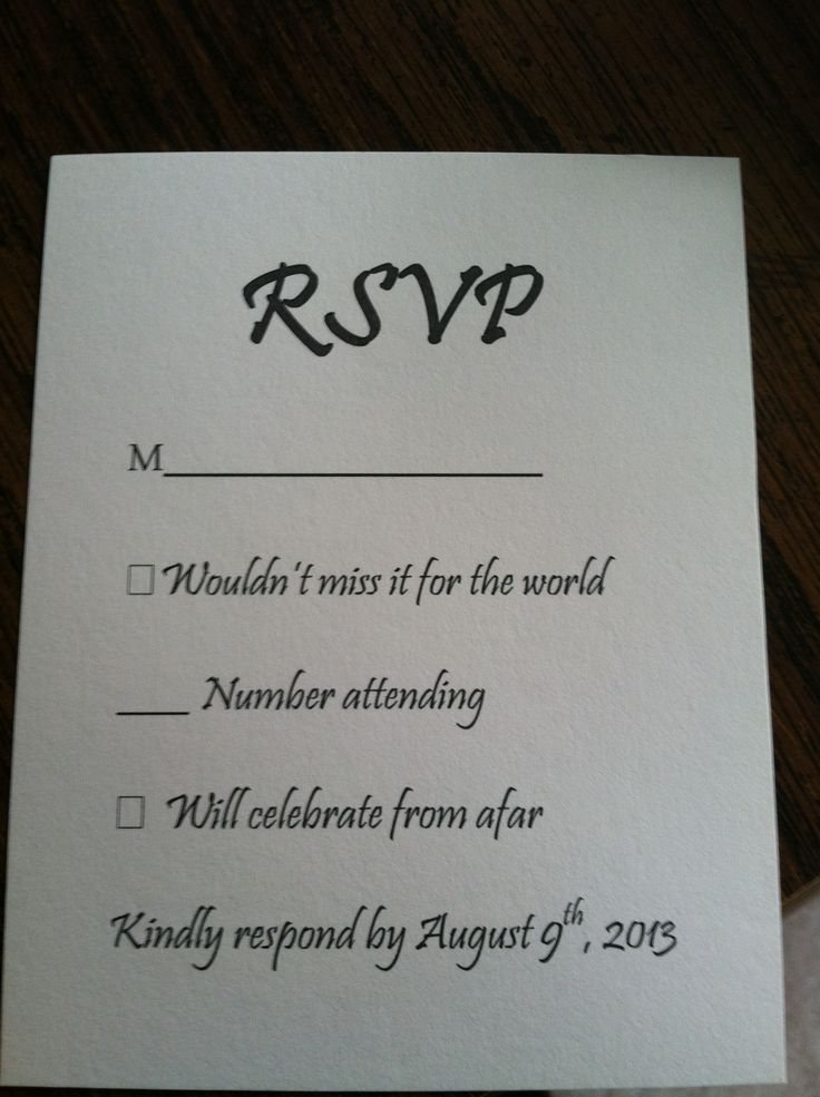 Wedding response card wording pinteres for Wording for wedding invitations with rsvp