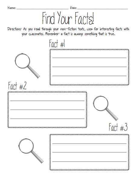 Fact Finder Worksheet | teach | Nonfiction books, Fiction ...