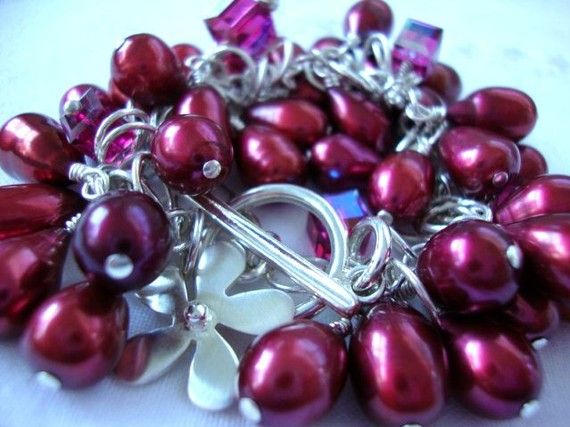Sterling Silver/Red Pearl Charm Bracelet by josoriginals on Etsy, $130.00