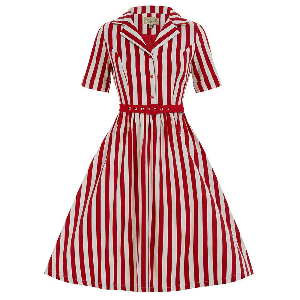 bbfd0d0cd15 Bletchley Red Stripe Swing Dress