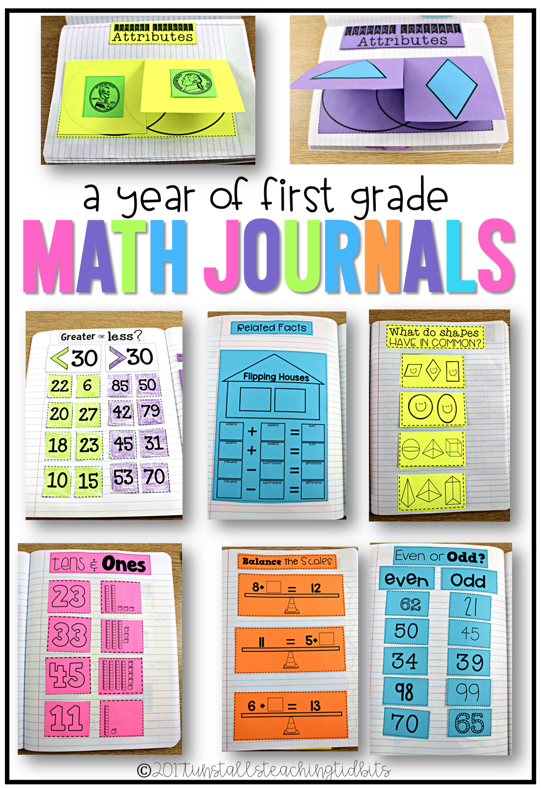 First Grade Math Journal Year Bundle | Pinterest | Math notebooks ...
