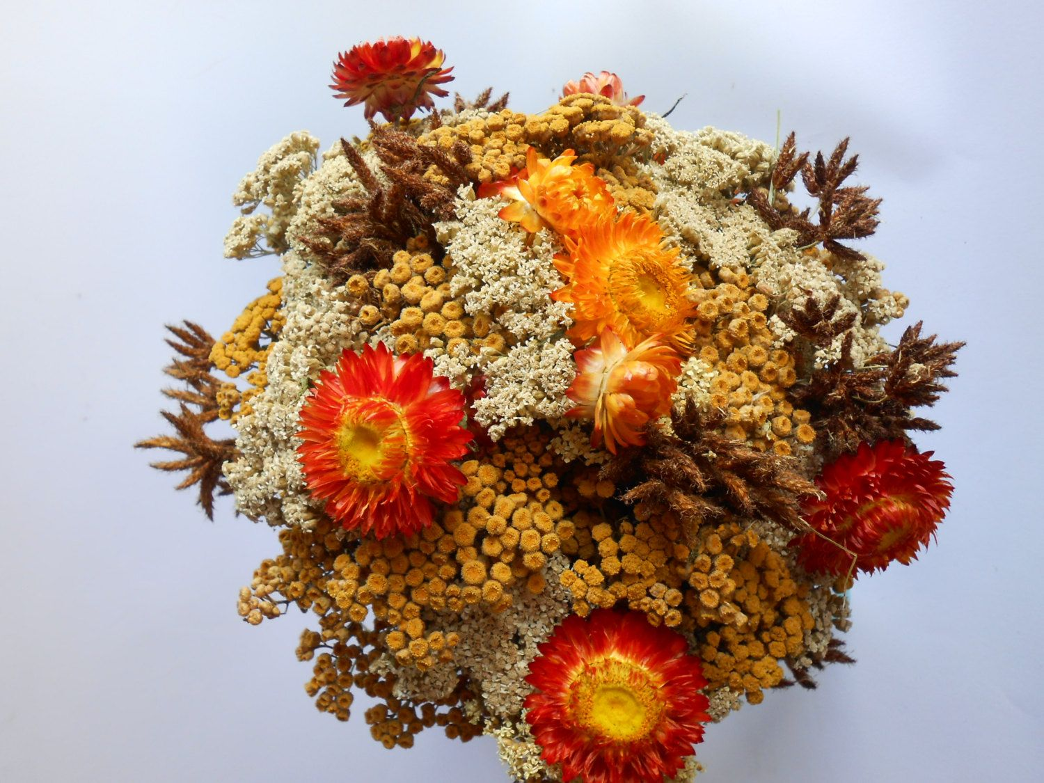Dried Flower Bouquet Fall Colors Wedding Flowers Dried Flower