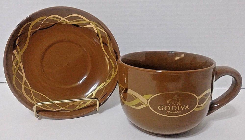 Godiva Chocolatier Coffee Cocoa Mug & Saucer w/Gold - California ...