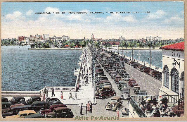 Vintage linen postcard of the Municipal Pier over Tampa Bay in Saint Petersburg, Florida.