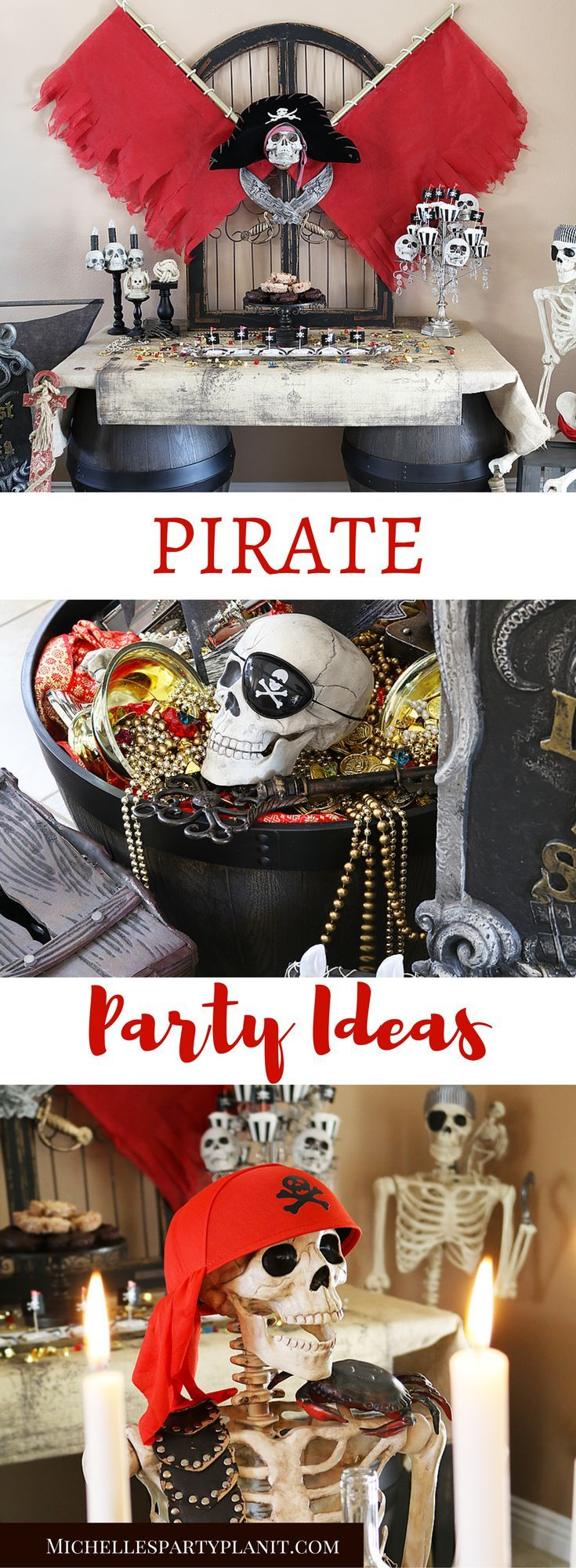 Pirate Party Ideas including a DIY Pirate Backdrop, Pirate Ship Mast and Pirate Candle Holders. Step by Step tutorial by Michelle's Party Plan-It for Oriental Trading #diypiratecostumeforkids