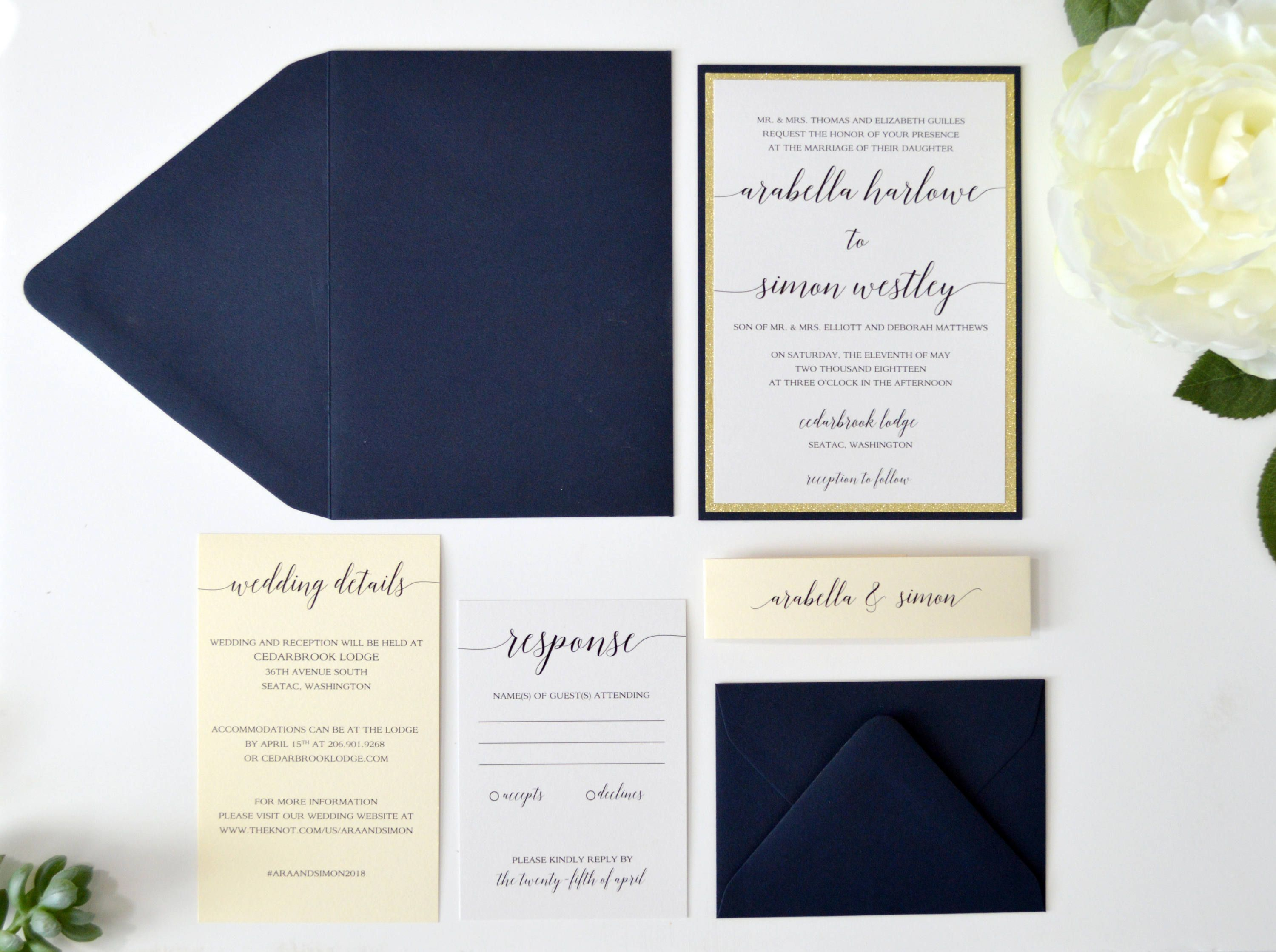 Navy Blue wedding invitations, Gold Glitter Wedding Invitations ...